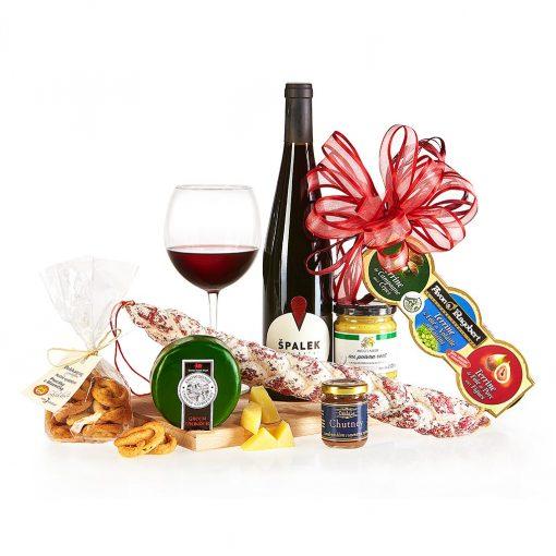 Dárkový koš Prkénko s masem, sýry a vínem