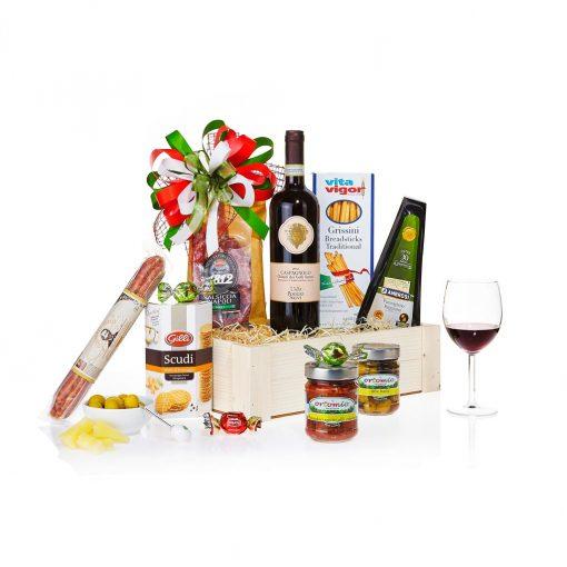 Dárkový koš Viva Italia s červeným vínem